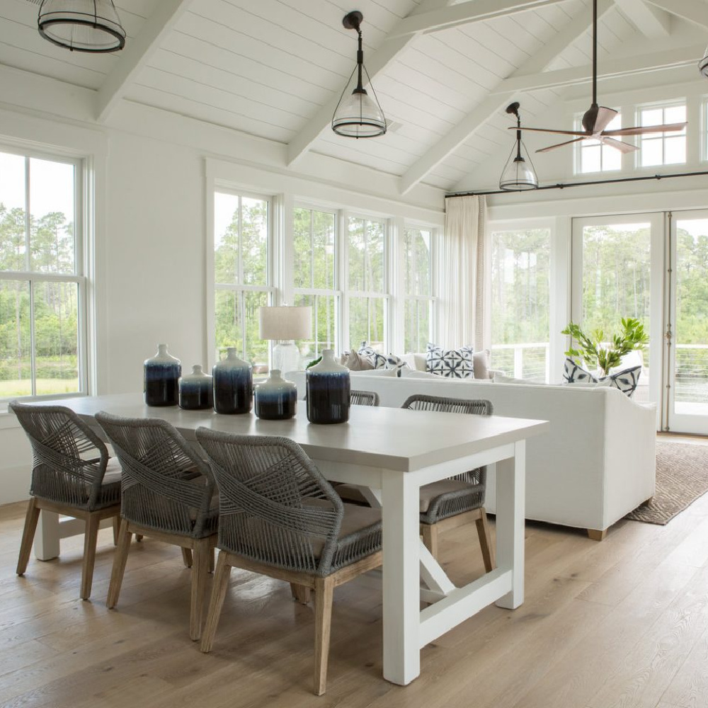 Great room in board and batten coastal cottage in Palmetto Bluff with modern farmhouse interior design by Lisa Furey.