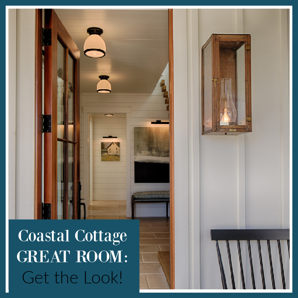 Coastal cottage great room: get the look on Hello Lovely! #livingrooms #interiordesig #shopthelook #coastalstyle