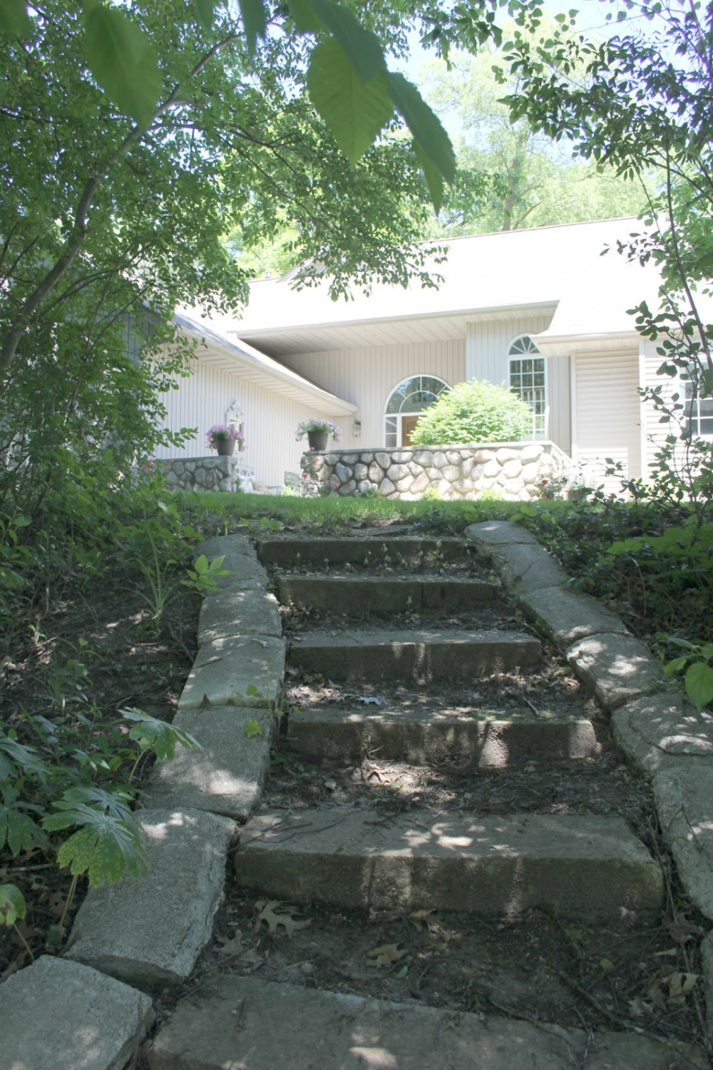 Stone steps leading up the hill to our cottage - Hello Lovely Studio.
