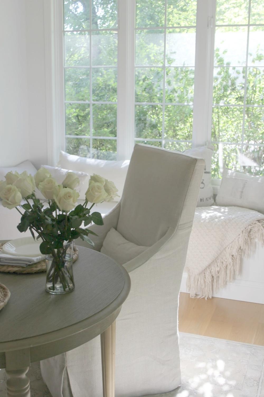 White serene kitchen with window seat - Hello Lovely Studio
