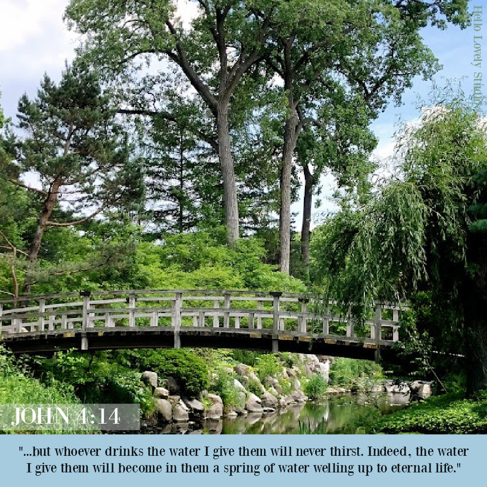 John 4:14 scripture quote about water on Hello Lovely Studio. #bibleverses #john4 #christianityquotes #scripture