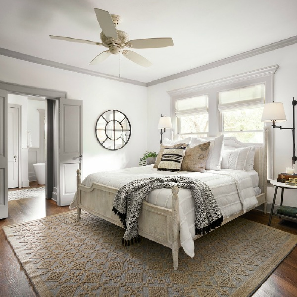 Get the Look: Scrivano FIXER UPPER Cottage Decor! Neutral bedroom with serene, easy, cottage style designed by Joanna Gaines. #cottagebedroom #scrivano #fixerupper