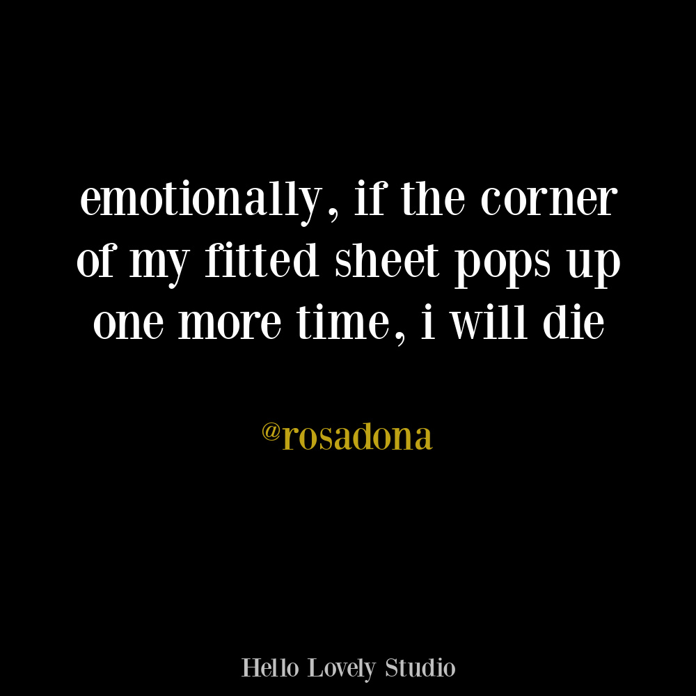 Sarcastic funny tweet about fitted sheets on Hello Lovely. #funnytweets #sarcasticquote #humor