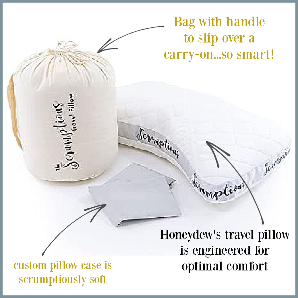 Honeydew Scrumptious travel pillow comes with a custom case, carrying bag and genius engineering! #luxurypillow #travelpillows