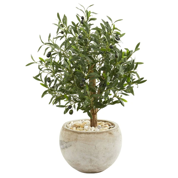 Nearly Natural olive tree in rustic white pot with white stones