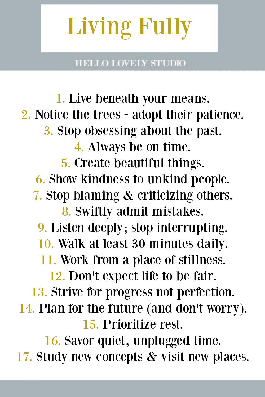 LIVING FULLY: a list of peaceful goals and strategies for simpler, slower, Zen - Hello Lovely Studio. #livingfully #lifehacks #peacefulliving