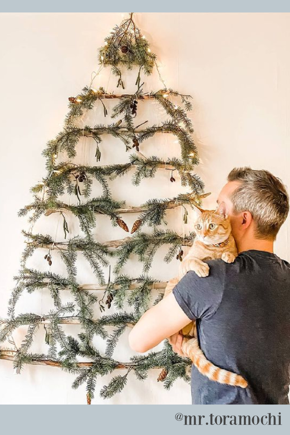 Driftwood Christmas tree decor on a wall with fresh greenery and owner holding Tabby cat - @mr.toramochi. #driftwoodtree #christmastrees #catchristmas