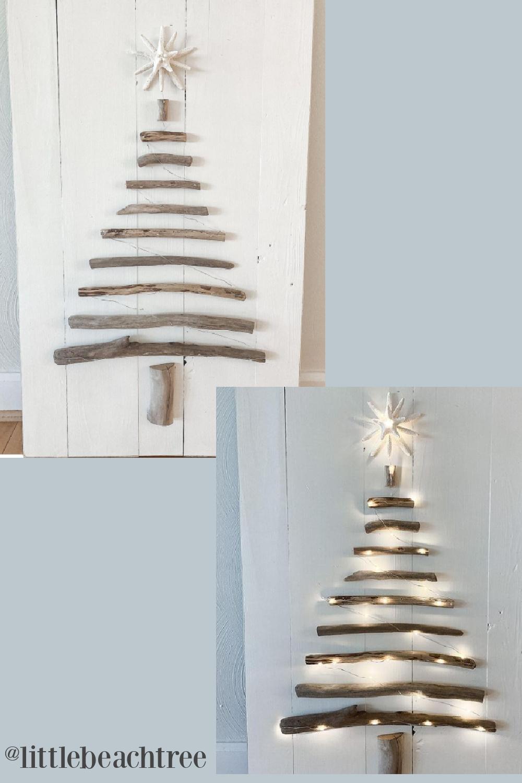Driftwood Christmas tree inspiration - Little Beach Tree. #driftwoodtree #christmasdecor