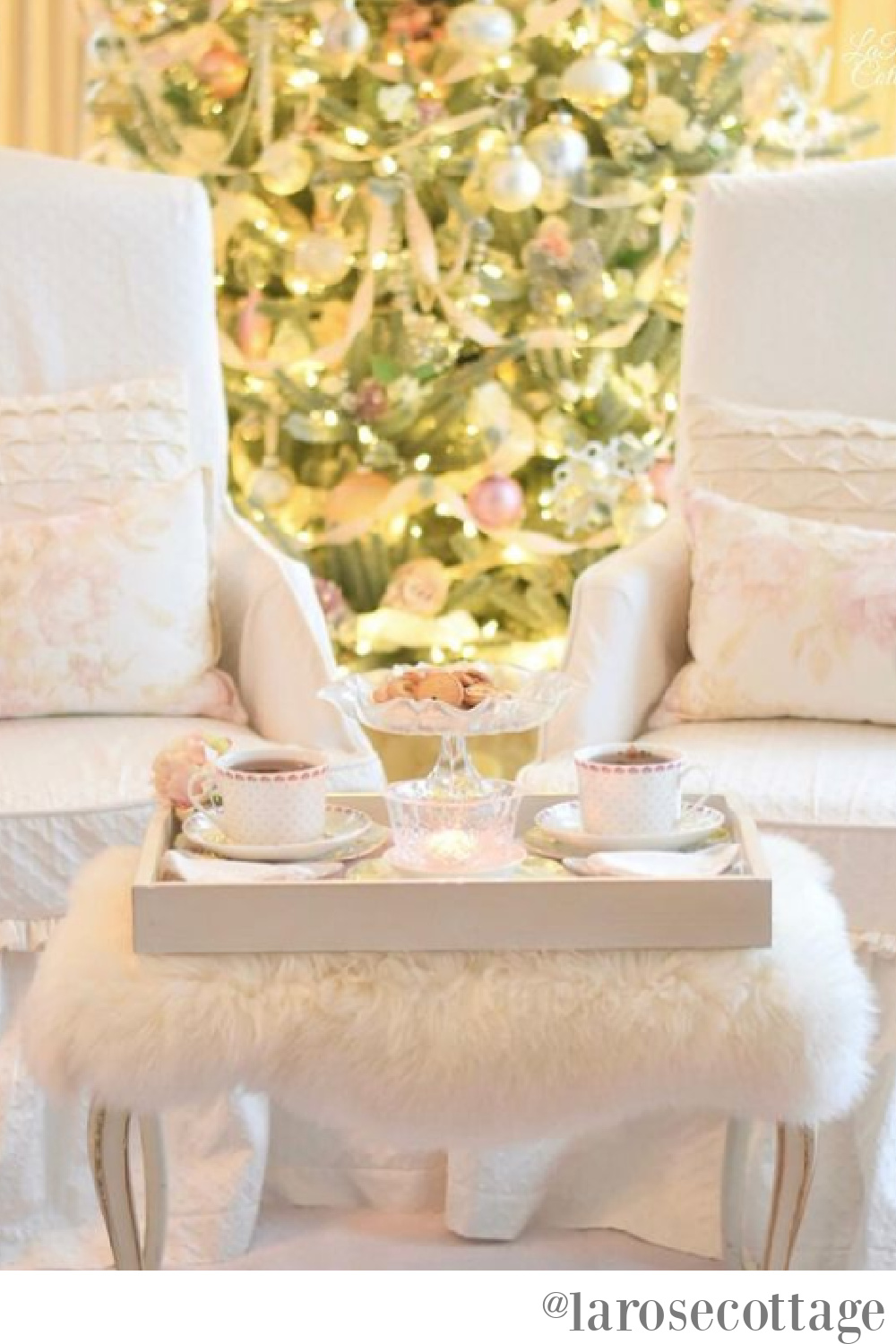 Romantic and pastel Christmas tree in an elegant living room - Lara Rose Cottage. #christmastrees #christmasdecor #frenchcountrychristmas
