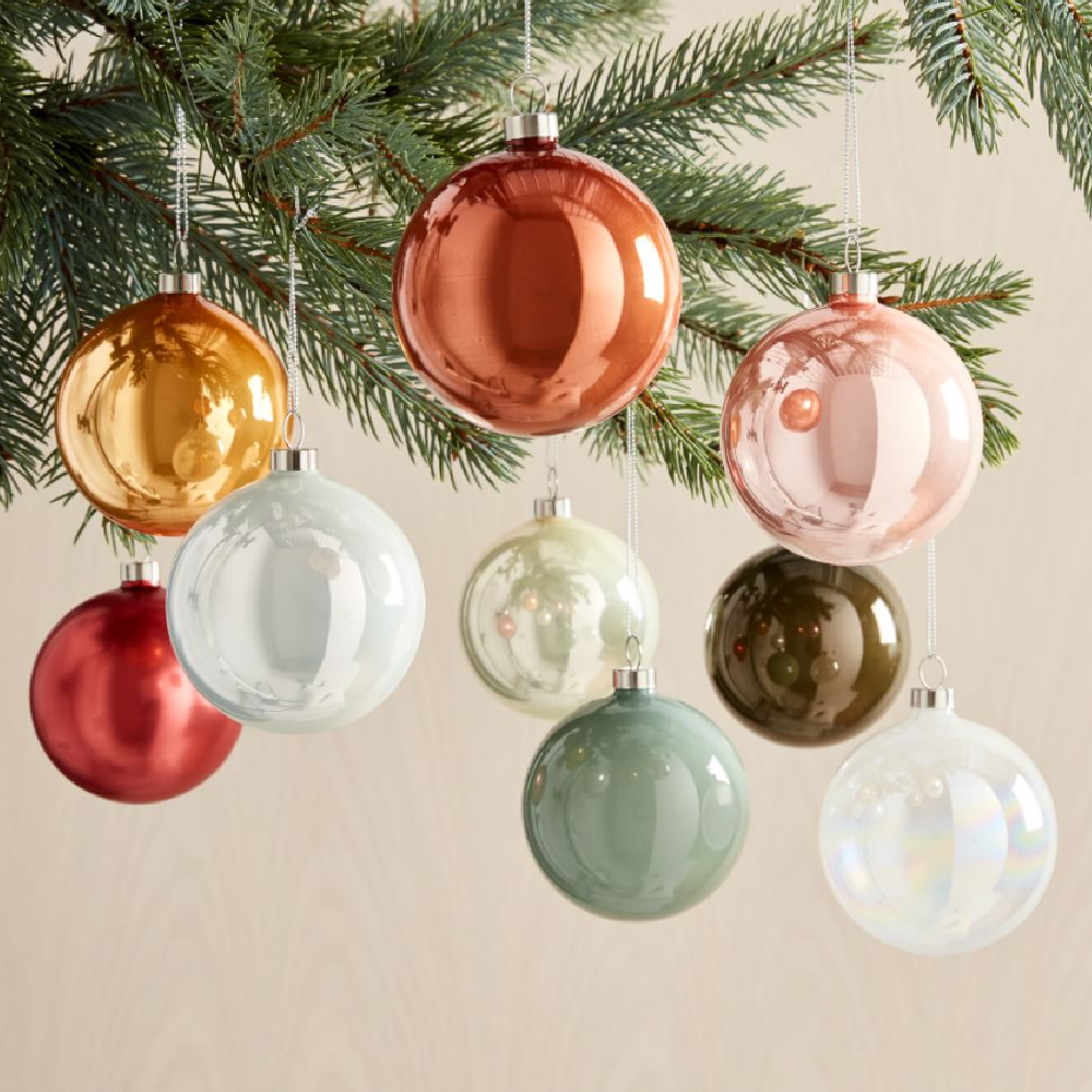 Pretty pastel vintage style glass Christmas tree ornaments - West Elm. #pastelchristmas #pinkchristmas #vintagechristmas #christmasdecor