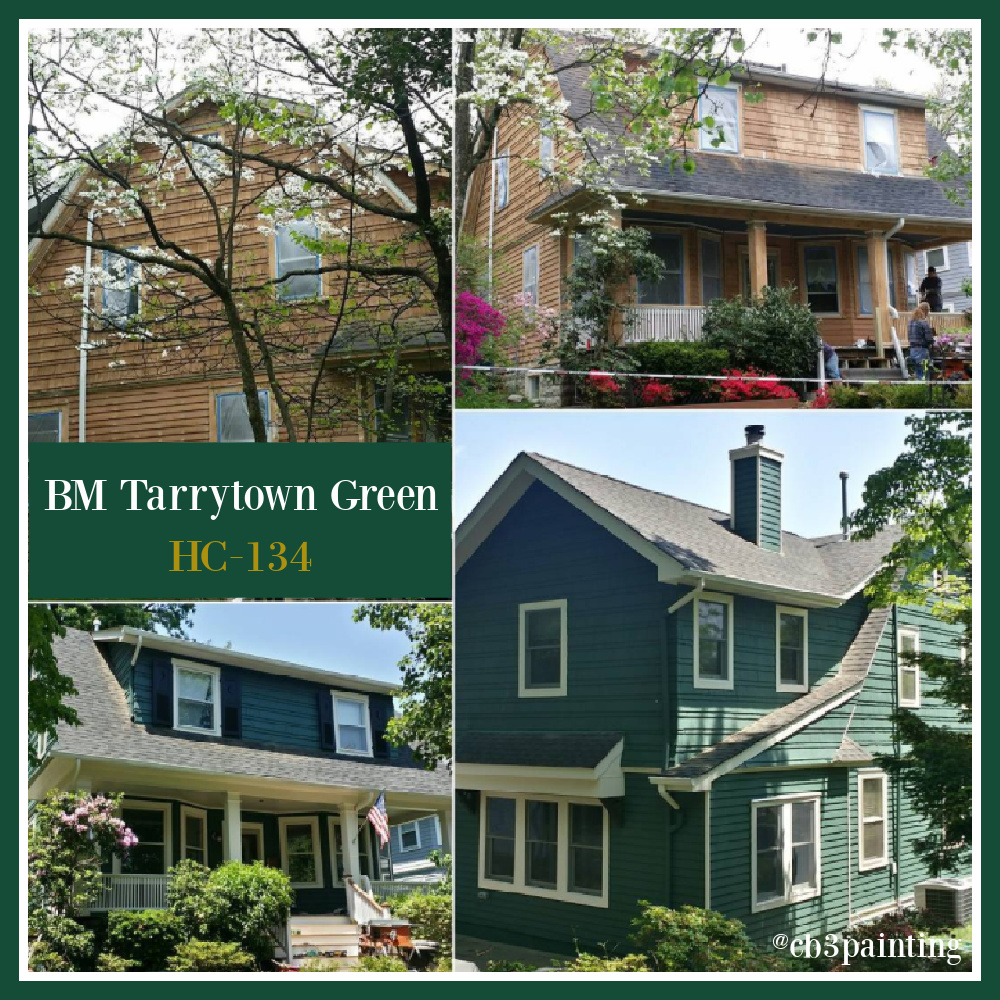 Tarrytown Green on a house exterior - Cb3Painting. #tarrytowngreen #paintcolors #greenhouses