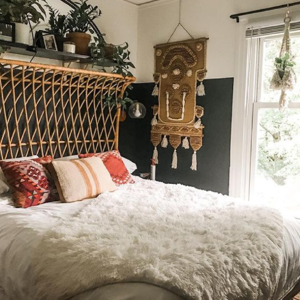Green bedroom wall (Tarrytown Green HC-134) in a gorgeously organic and artful Seattle home - Nest on Capitol Hill. #tarrytowngreen #greenbedroom