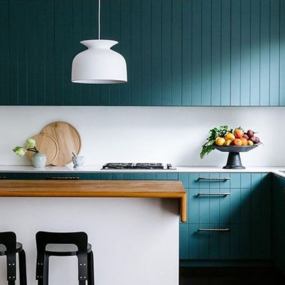 Tarrytown Green paint color on cabinets in a minimal simple kitchen with v groove cabinets - Bibby and Brady. #tarrytowngreen #bmtarrytowngreen #greenkitchens