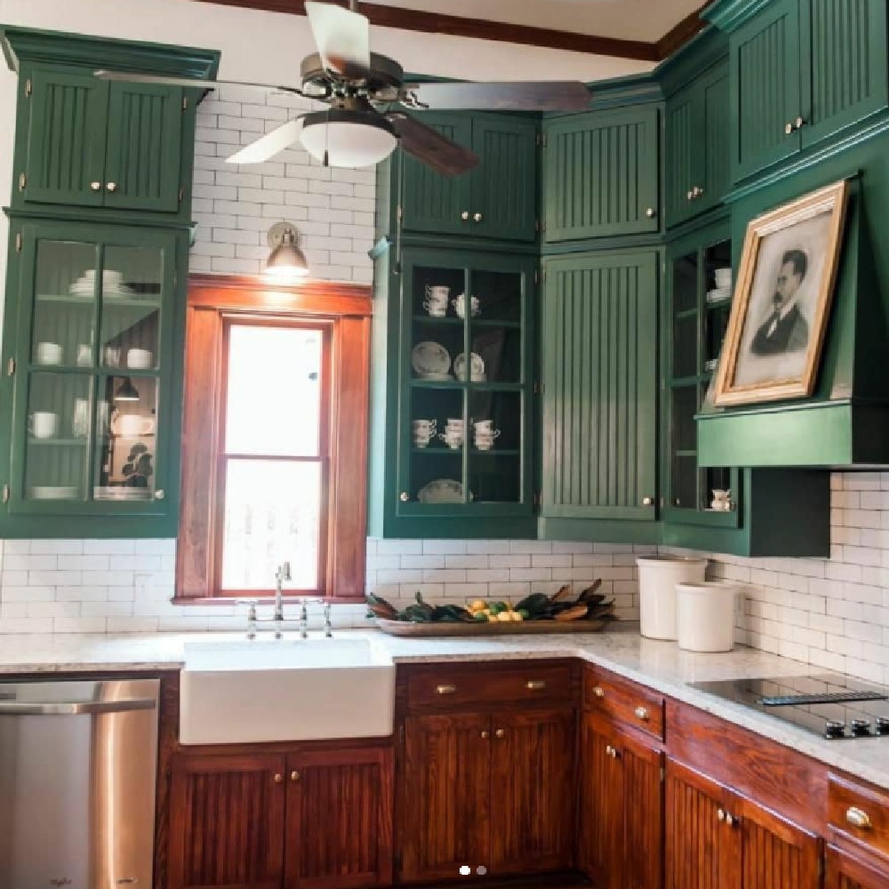 Tarrytown Green paint color (Benjamin Moore) on upper kitchen cabinets from HGTV Hometown with the Napiers. #tarrytowngreen #greenpaintcolors #greenkitchen