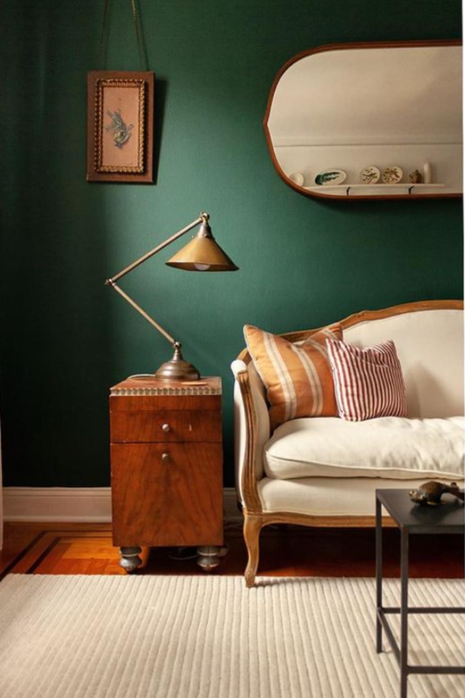 Tarrytown Green (Benjamin Moore) paint color in living room - Brooklynartboy. #tarrytowngreen #paintcolors #greenpaint