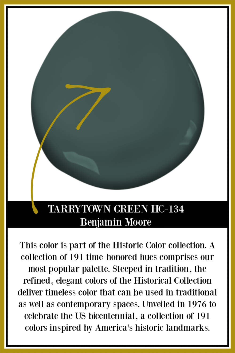 Tarrytown Green HC-134 Benjamin Moore paint color swatch - see interiors and exteriors with this deep green on Hello Lovely. #tarrytowngreen #paintcolors