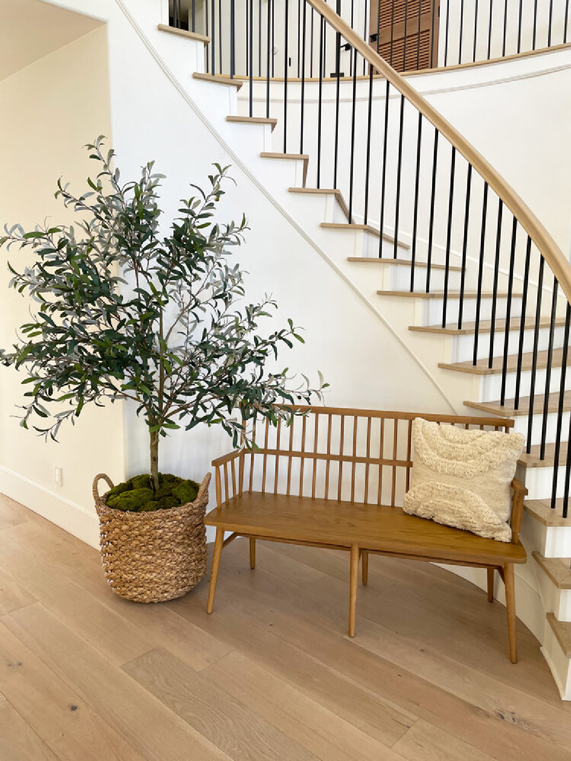 Neutral, Modern French style staircase and entry with bench and potted tree - design by AR Interiors (Anna Rosemann).