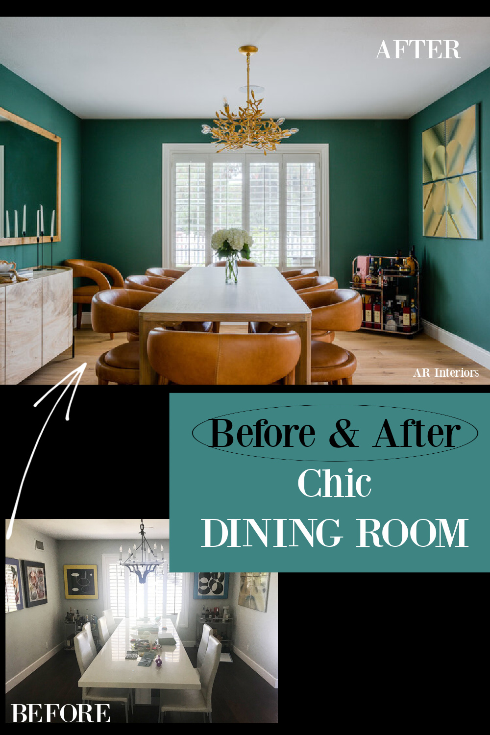 Before & After Chic Dining room with teal walls and modern leather chairs - AR Interiors (Anna Rosemann). #diningrooms #beforeandafter #tealwalls