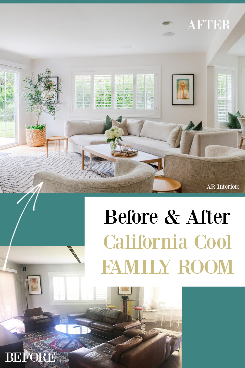 Before and after California cool family room with Belgian linen furniture - AR Interiors (Anna Rosemann). #familyrooms #modernfrench