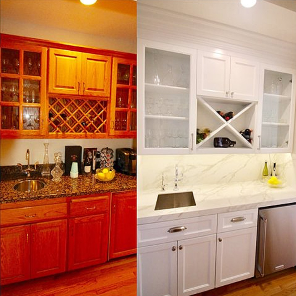Before and after bar area after white paint - AR Interiors (Anna Rosemann). #beforeandafter #remodel