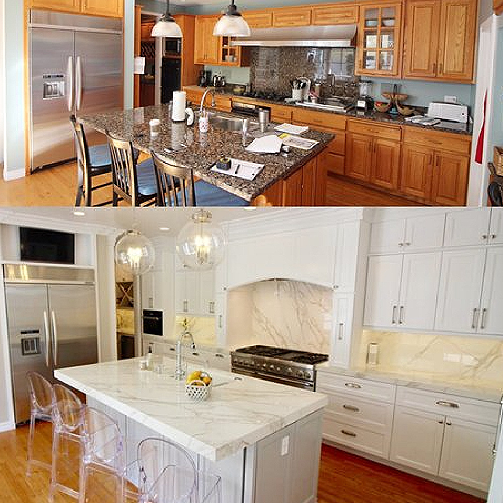 Before and after white kitchen by Anna Rosemann of ARInteriors. #beforeandafter