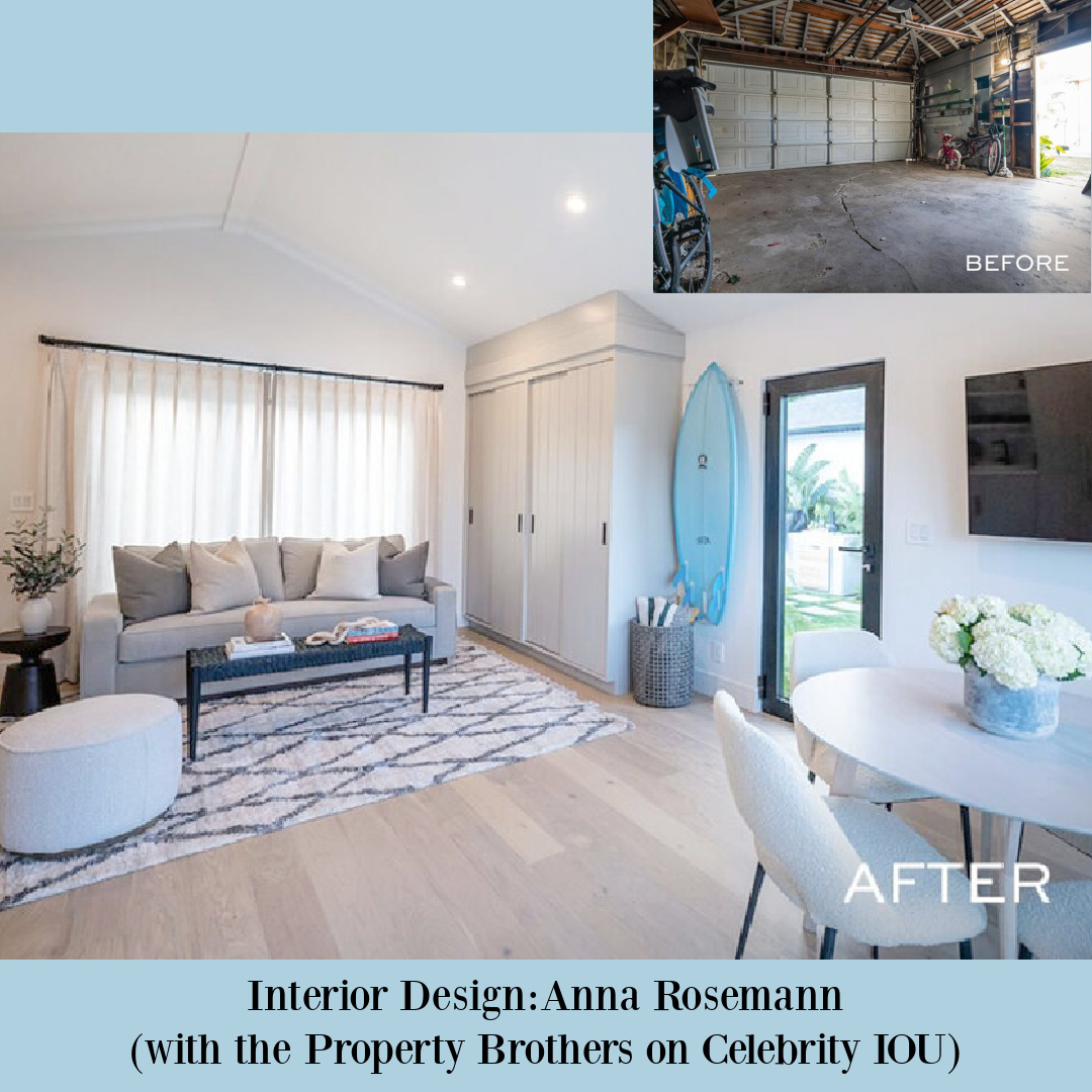 Garage makeover on Celebrity IOU Property Brothers with Darren Criss and design by Anna Rosemann. #beforeafter #celebrityiou #garageconversion #renovation