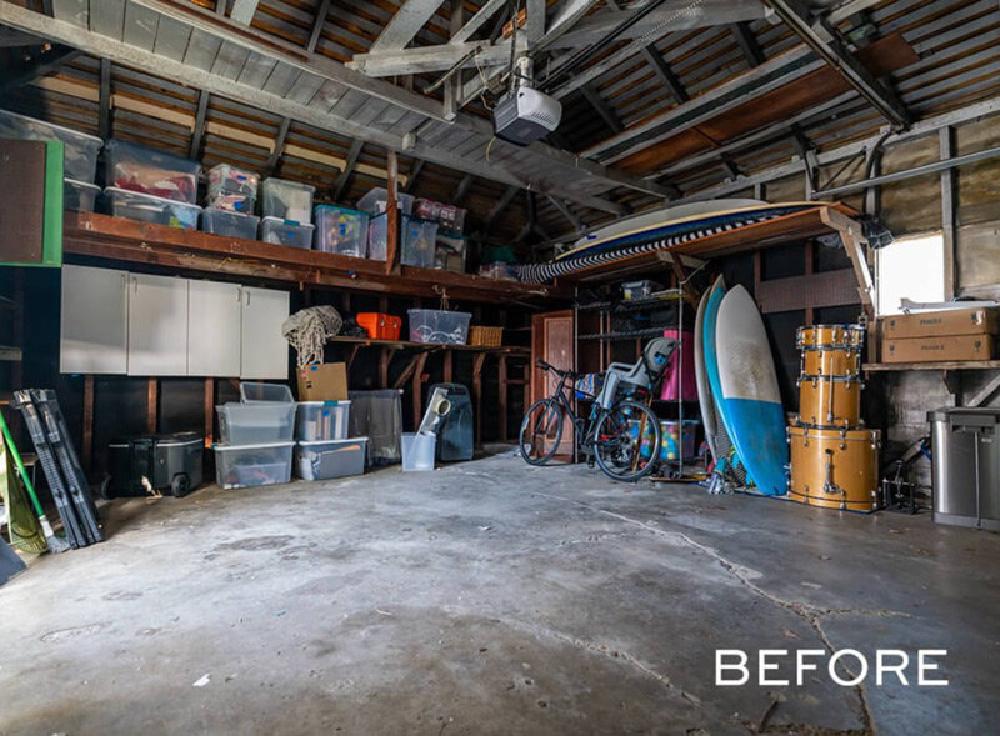 before - Darren Criss episode of Celebrity IOU with garage makeover