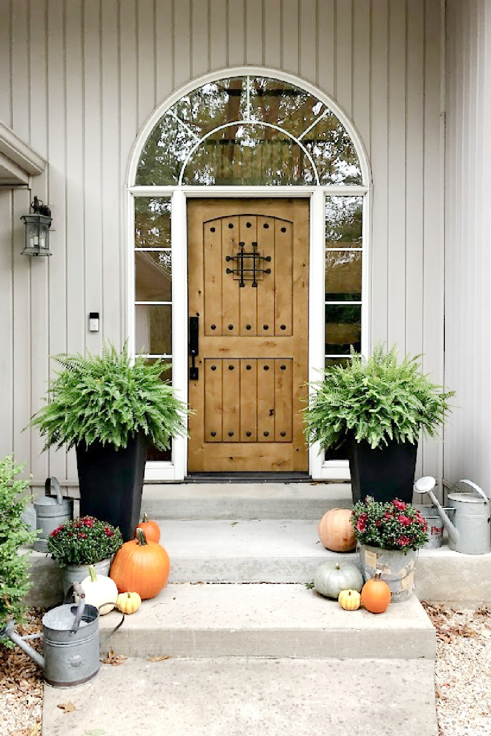 Pumpkins, mums in vintage galvanized buckets, and ferns on my fall front porch. Front door is rustic alder - Hello Lovely. #fallporch