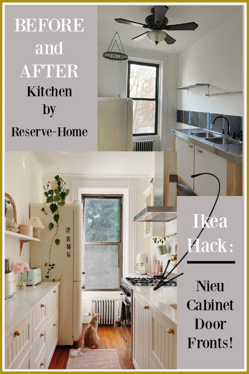 Ikea hack: cabinet door fronts from NIEU for a customized cottage look in a Brooklyn Brownstone kitchen by ReserveHome. #ikeahack #kitchendesign #kitchencabinets #cabinetrefacing