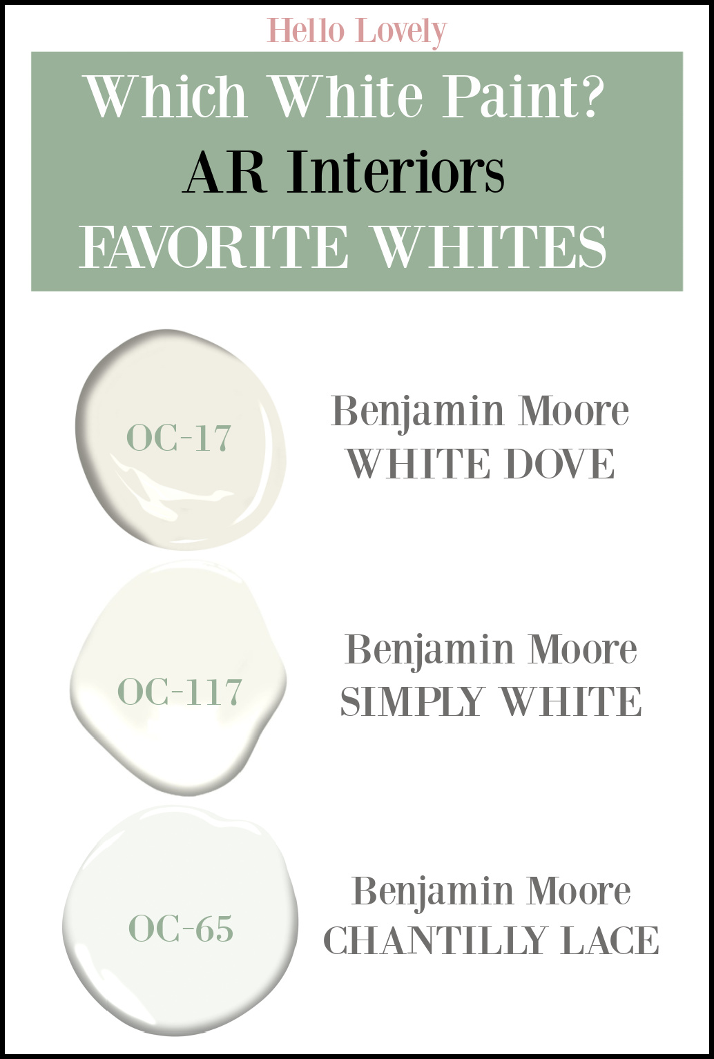 Which White Paint Color? AR Interiors Favorite Whites include Benjamin Moore White Dove, Simply White and Chantilly Lace. #whitepaintcolors