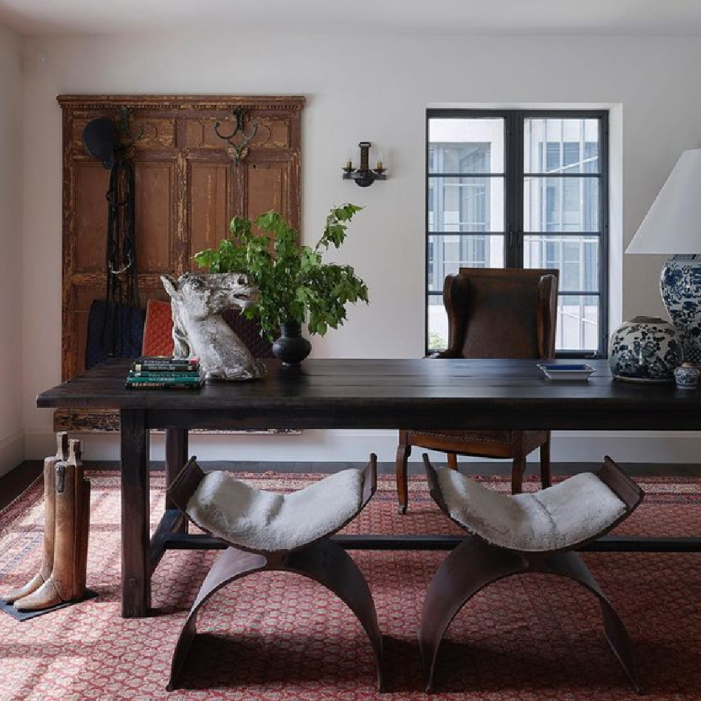 Michael Del Piero global style interior designed workspace home office with antiques and modern rustic charm. #modernrustic #homeoffice