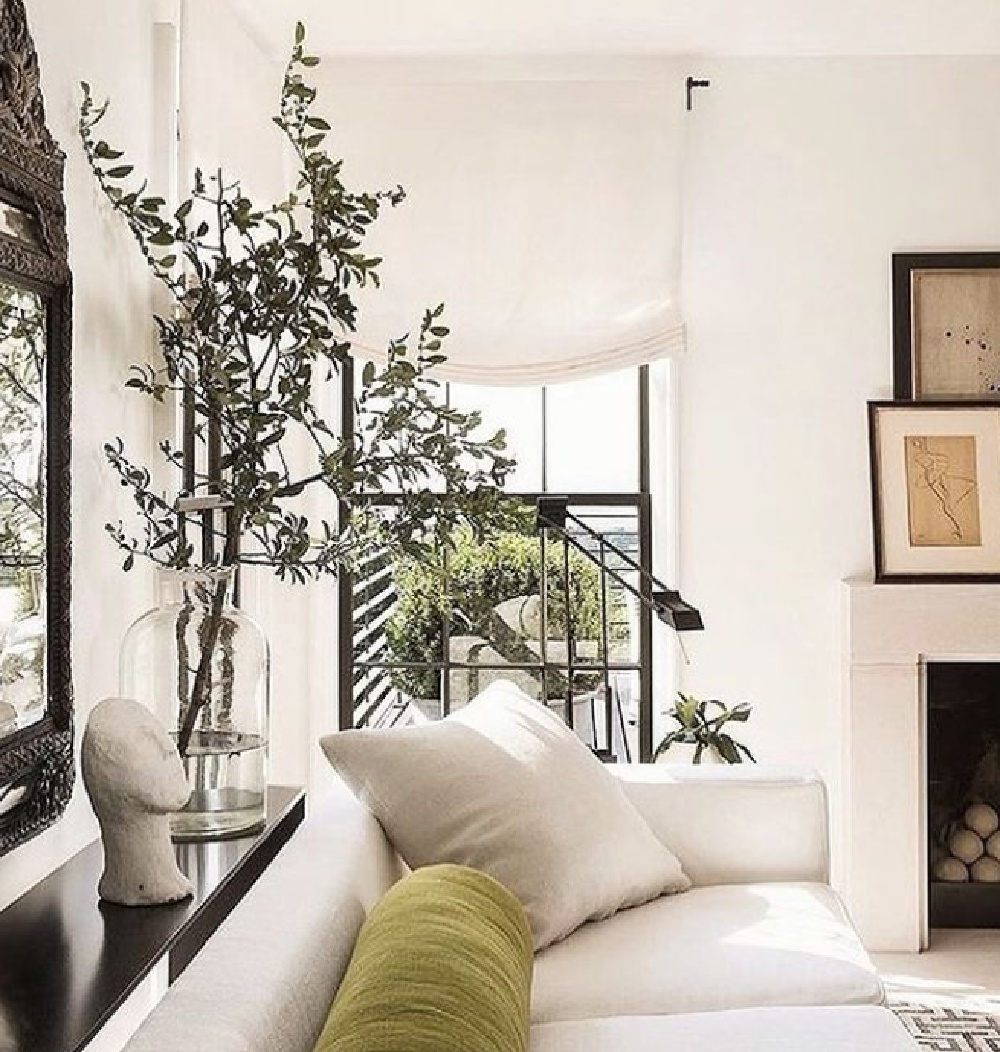 Betsy Brown designed neutral minimal modern European influenced living room with linen sofa, large potted tree, and olive velvet cushion.