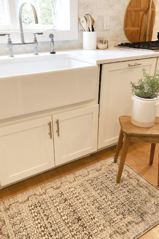 Amber Lewis x Loloi Zuma Zum Ocean Area Rug at my kitchen's farm sink - Hello Lovely Studio.